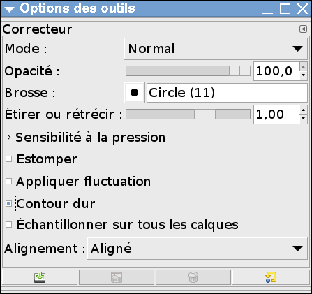 Options de l'outil correcteur